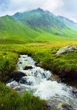 Paesaggio della montagna con un fiume Fotografia Stock