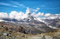 Paesaggio della montagna del Cervino, alpi svizzere Fotografia Stock
