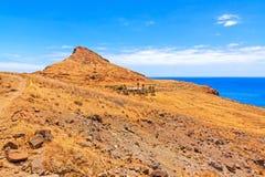 Paesaggio della montagna del Madera - ranch in deserto con le palme Fotografie Stock Libere da Diritti