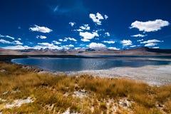 Paesaggio della montagna dell'Himalaya con il TSO Kar del lago di sale Immagine Stock