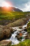 Paesaggio della montagna della cascata, Norvegia Fotografia Stock