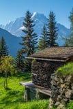 Paesaggio della montagna delle alpi francesi Fotografia Stock