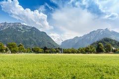 Paesaggio della montagna delle alpi, Interlaken, Svizzera Fotografia Stock Libera da Diritti
