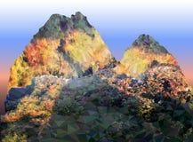 Paesaggio della montagna di autunno con la strada di pietra Immagini Stock Libere da Diritti