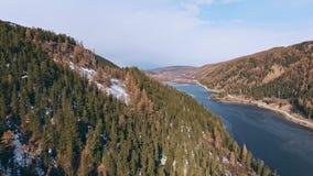 Paesaggio della montagna di autunno: il fiume scorre lungo gli alberi ingialliti sulla riva video d archivio