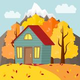 Paesaggio della montagna di autunno di vettore Casa di campagna in autunno illustrazione vettoriale