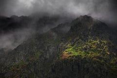 Paesaggio della montagna di estate nelle alpi di Transylvanian, con le nuvole tempestose Immagine Stock