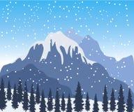 Paesaggio della montagna di inverno illustrazione di stock