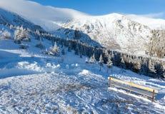 Paesaggio della montagna di inverno di mattina fotografia stock