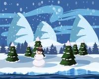 Paesaggio della montagna di inverno di un pupazzo di neve dell'albero di Natale Fotografia Stock Libera da Diritti