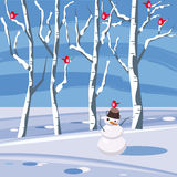 Paesaggio della montagna di inverno di un pupazzo di neve dell'albero di Natale Fotografia Stock