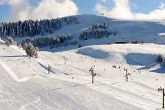 Paesaggio della montagna di inverno nelle alpi francesi Fotografia Stock