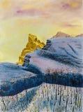 Paesaggio della montagna di inverno Pittura dell'acquerello sulla carta illustrazione di stock