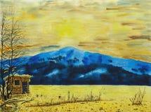 Paesaggio della montagna di inverno Pittura dell'acquerello sulla carta illustrazione vettoriale