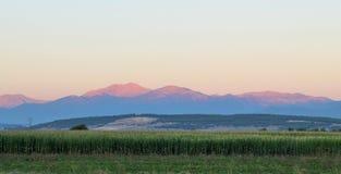 Paesaggio della montagna di mattina Immagini Stock