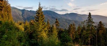 Paesaggio della montagna di panorama al tramonto Immagine Stock Libera da Diritti