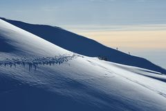 Paesaggio della montagna di Snowy in alpi italiane Immagine Stock Libera da Diritti