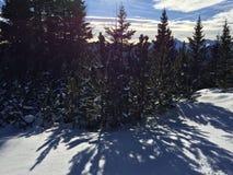 Paesaggio della montagna di Snowy in vipiteno in negativo per la stampa di cartamoneta Adige di trentino Immagine Stock Libera da Diritti