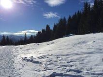 Paesaggio della montagna di Snowy in vipiteno in negativo per la stampa di cartamoneta Adige di trentino Immagini Stock Libere da Diritti