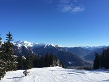 Paesaggio della montagna di Snowy in vipiteno in negativo per la stampa di cartamoneta Adige di trentino Fotografie Stock