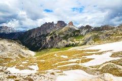 Paesaggio della montagna in dolomia di Sesto Fotografie Stock