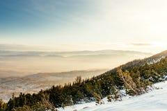 Paesaggio della montagna durante l'inverno Strati delle montagne e della valle dall'alta scogliera Fotografia Stock