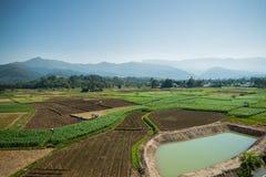 Paesaggio della montagna e dell'azienda agricola Immagini Stock Libere da Diritti