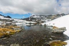 Paesaggio della montagna e della corrente Fotografie Stock