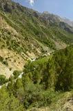 Paesaggio della montagna, gola di Galuyan, Kirghizistan Immagini Stock Libere da Diritti