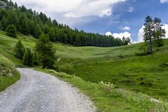 """Paesaggio della montagna lungo la strada al dell """"Assietta di Colle fotografie stock libere da diritti"""