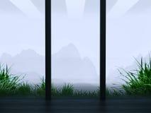 Paesaggio della montagna nella finestra Fotografie Stock