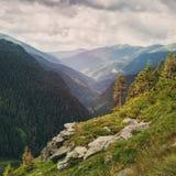 Paesaggio della montagna Sommità di Toaca Strada vicina di Transfagarasan delle scogliere Picchi di alta montagna Fotografia Stock Libera da Diritti