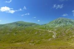 Paesaggio della montagna Strada di elevata altitudine nei Carpathians Immagine Stock