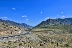 Paesaggio della montagna - strada principale in rocce variopinte di Altai, Russia Fotografia Stock Libera da Diritti
