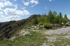 Paesaggio della montagna sul passaggio Chike-Taman Montagna Altai La Siberia occidentale Fotografie Stock