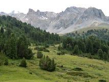 Paesaggio della montagna vicino a Scuol, Engadine più basso, Svizzera Fotografia Stock