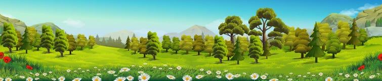Paesaggio della natura della foresta e del prato illustrazione di stock