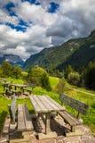 Paesaggio della natura Vista stupefacente sulle alpi, sulla valle e sulle montagne a Immagine Stock Libera da Diritti