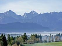 Paesaggio della nebbia in Allgaeu Immagine Stock Libera da Diritti