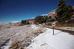 Paesaggio della neve con il segno limite di velocità Fotografie Stock Libere da Diritti