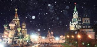 Paesaggio della neve del Russo di Cremlino di Mosca primo Fotografia Stock Libera da Diritti