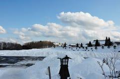 Paesaggio della neve nel Giappone Immagine Stock