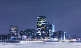 Paesaggio della notte Mosca Paesaggio urbano di Mosca moderna alla notte Le luci di grande città Mosca alla notte nell'inverno Fotografie Stock