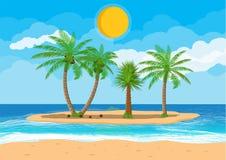 Paesaggio della palma sulla spiaggia Immagini Stock Libere da Diritti