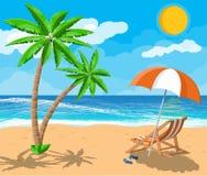 Paesaggio della palma sulla spiaggia Immagini Stock