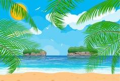 Paesaggio della palma sulla spiaggia Immagine Stock Libera da Diritti