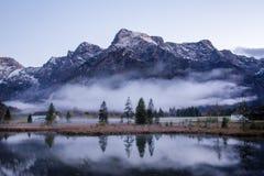 Paesaggio della palude della montagna nebbiosa Fotografie Stock