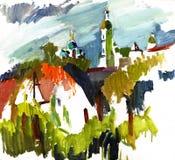 Paesaggio della pittura Fotografia Stock