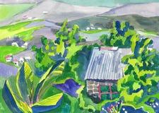 Paesaggio della pittura dell'acquerello Fotografie Stock Libere da Diritti