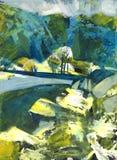 Paesaggio della pittura a olio Fotografie Stock Libere da Diritti